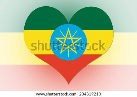 Ethiopia Flag in the shape of a heart