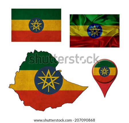 Ethiopia flag, map and map pointers  - stock photo
