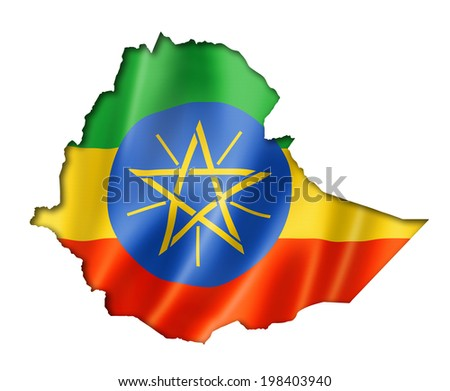 Ethiopia flag map, three dimensional render, isolated on white