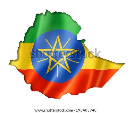 Ethiopia flag map, three dimensional render, isolated on white - stock photo
