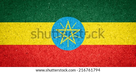 Ethiopia flag on paper background