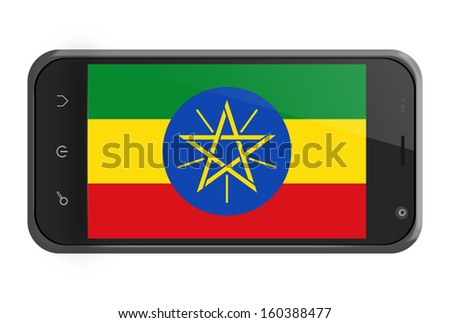 Ethiopia flag on smartphone screen isolated on white