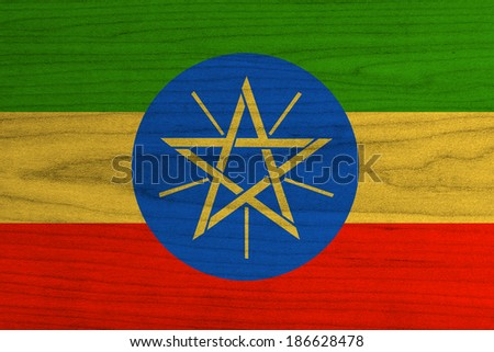 Ethiopia Flag painted on wood background