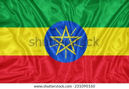 Ethiopia flag pattern on the fabric texture ,vintage style