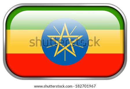Ethiopia Flag rectangle glossy button