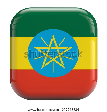 Ethiopia flag square icon image isolated on white. Clipping path included.