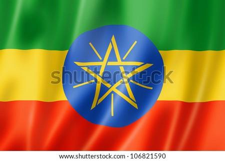 Ethiopia flag, three dimensional render, satin texture - stock photo