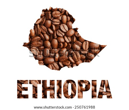 Ethiopia map and word coffee beans isolated on white - stock photo
