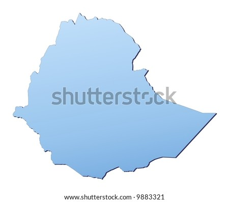 Ethiopia map filled with light blue gradient. High resolution. Mercator projection. - stock photo