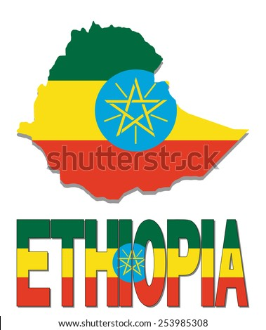Ethiopia map flag and text illustration - stock photo