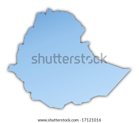 Ethiopia map light blue map with shadow. High resolution. Mercator projection.