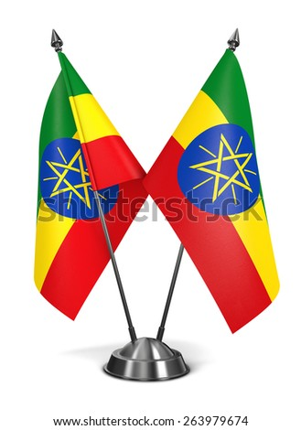 Ethiopia - Miniature Flags Isolated on White Background. - stock photo
