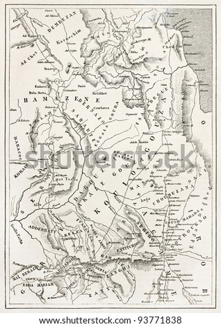 Ethiopia old map, from Massawa to Adwa. By unidentified author, published on Le Tour du Monde, Paris, 1867 - stock photo