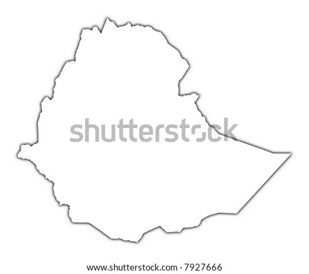 Ethiopia outline map with shadow. Detailed, Mercator projection. - stock photo