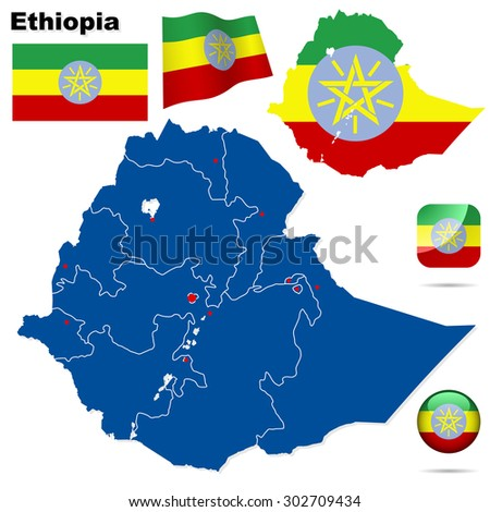 Ethiopia set. Detailed country shape with region borders, flags and icons isolated on white background. - stock photo