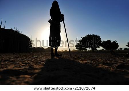 Ethiopia silhouette of native man - stock photo