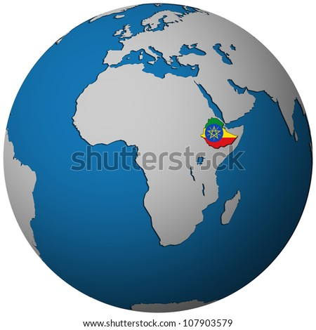 ethiopia territory with flag on map of globe