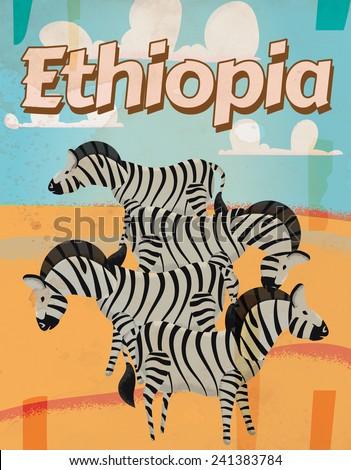 Ethiopia vintage travel poster. A classic or vintage zebra Ethiopian vacation poster. - stock photo