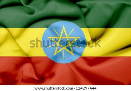 Ethiopia waving flag - stock photo