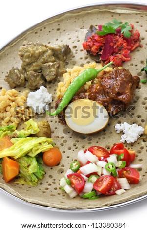 ethiopian cuisine isolated on white background - stock photo