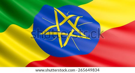 Ethiopian flag fluttering in wind. - stock photo