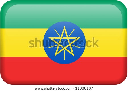 Ethiopian flag rectangular button.  Part of set of country flags all in 2:3 proportion with accurate design and colors.