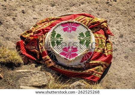 Ethiopian food basket - stock photo
