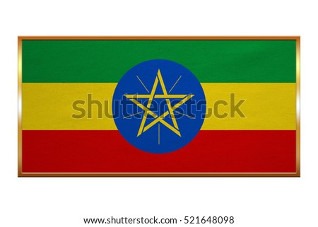 Ethiopian national official flag. African patriotic symbol, banner, element, background. Correct colors. Flag of Ethiopia , golden frame, fabric texture, illustration. Accurate size, colors