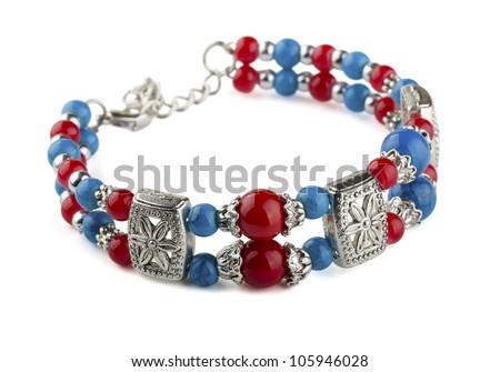 Ethnic  bead bracelet isolated on white - stock photo