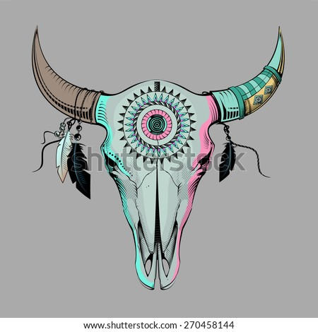 ethnic bull skull - stock photo
