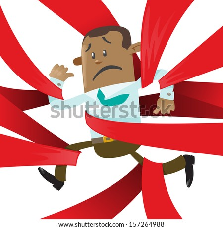 Ethnic Business Buddy is caught up in Red Tape. Fantastic illustration of Ethnic Business Buddy clearly very distressed with the bureaucratic red tape that he's got caught up in.   - stock photo