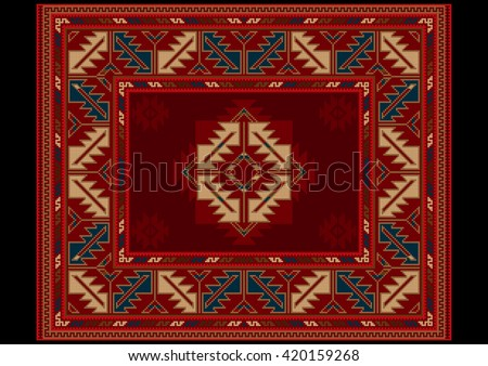 Ethnic carpet with vintage ornament in red and maroon shades - stock photo
