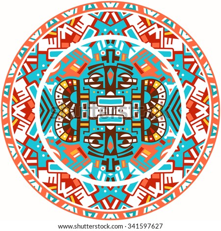 Ethnic circle reminiscent of the Mayan calendar