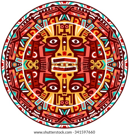 Ethnic circle reminiscent of the Mayan calendar and Aztec ornaments