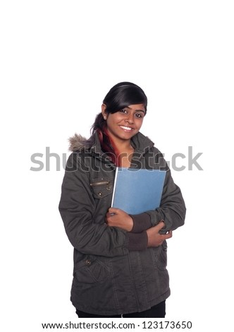 Ethnic dark Indian/ Asian college student smiling over isolated white background. - stock photo