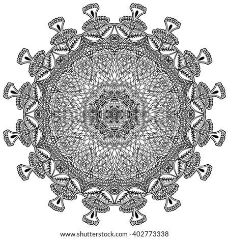 Ethnic decorative element for design. Monochrome mandala isolated on white background. Rasterized version. - stock photo