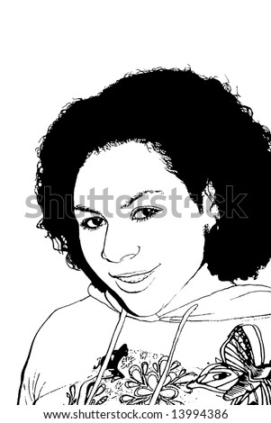 ethnic girl in a hoodie - stock photo
