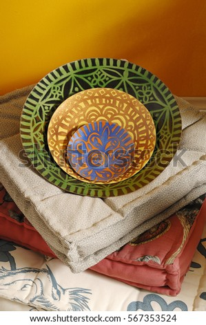 Ethnic home decoration accessories yellow wall decoration style