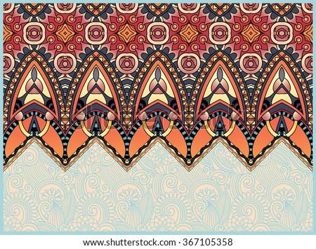 ethnic horizontal authentic decorative paisley pattern for your design, geometric ukrainian carpet ornamental background, raster version illustration - stock photo