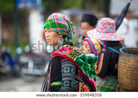 ethnic minorities at Sapa, Laocai province, Vietnam on Apr 19, 2015. Sapa is travel town,it is one of the main market towns in the area, where several ethnic minority groups - stock photo