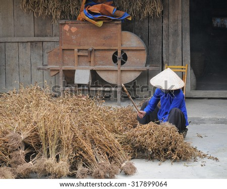 Ethnic minority people working at home in Ha giang, Vietnam. Ha giang is a northernmost province in Vietnam.