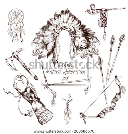 Ethnic native american indian tribes sketch decorative elements set isolated  illustration - stock photo