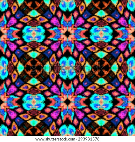 Ethnic ornamental colorful fabric design. Abstract Intricate seamless pattern background. Raster version. - stock photo
