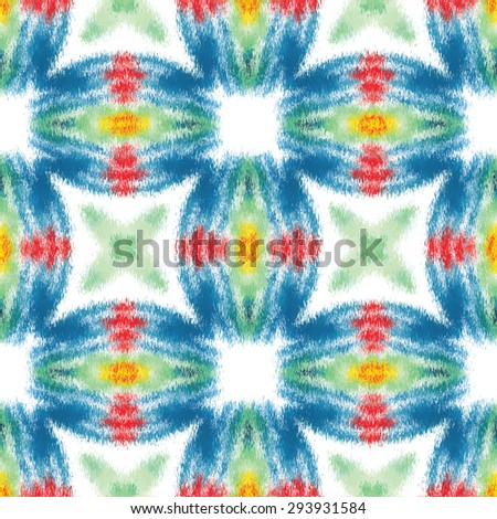 Ethnic ornamental colorful fabric design. Abstract Intricate seamless pattern background. Raster version - stock photo