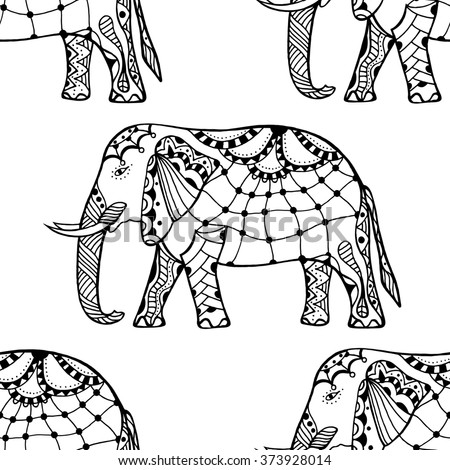 Ethnic ornate seamless pattern with hand drawn elephants and Ohm sign.  Isolated art illustration. For Hindu, African, Indian, Thai, boho design, spiritual print, wrapping and textiles. - stock photo