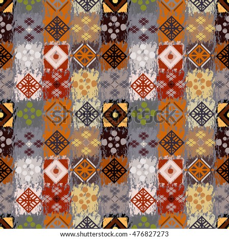 Ethnic patchwork seamless pattern. Tribal art boho print. Background ethno tiled texture, tile
