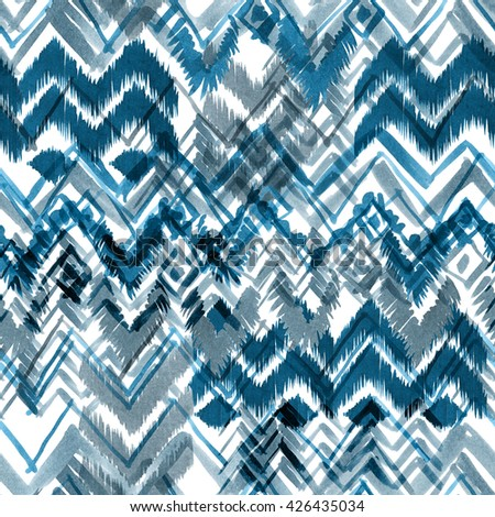 Ethnic pattern seamless. Tribal background. Chevron hand drawn illustration. Watercolor markers painting. - stock photo