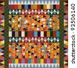 Ethnic pattern with multicolored elements, abstract art. - stock photo