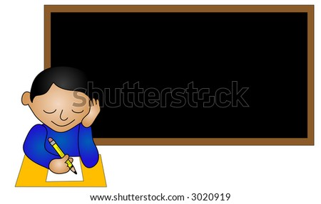 Ethnic school boy sitting at a desk. - stock photo