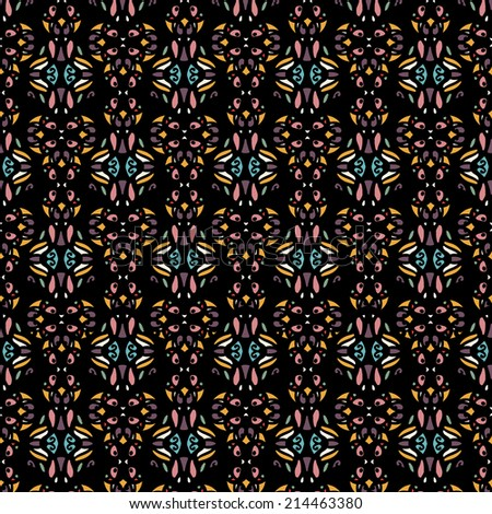 Ethnic seamless pattern with flowers. Abstract floral background texture. Endless repeating print. Fabric design. Wallpaper - raster version